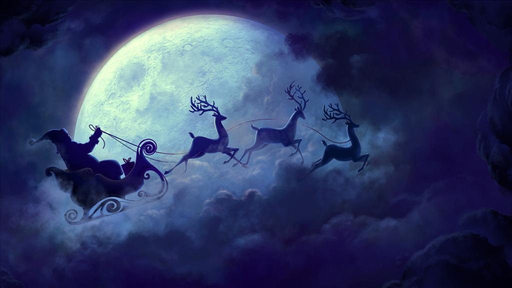 Fond D Ecran Traineau De Noel Devant La Lune