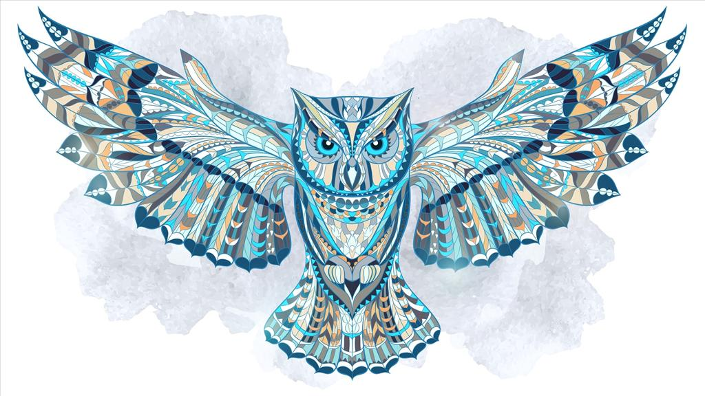 fond d  u00e9cran chouette ethnique snowy owl vector art cute owl vector art