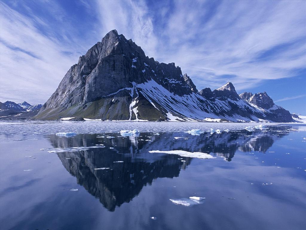 Fond d 39 cran r flexion de la montagne for Fond ecran montagne