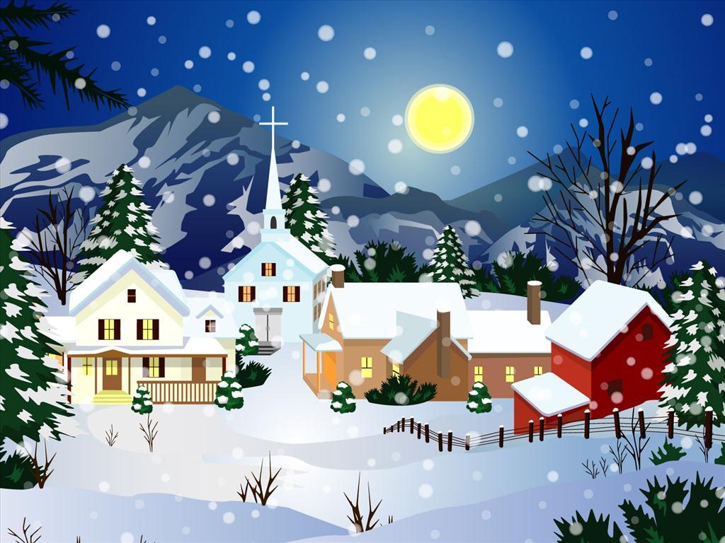 #133B7D Fond D'écran Village De Noël 6119 decoration de noel village animé 1024x768 px @ aertt.com