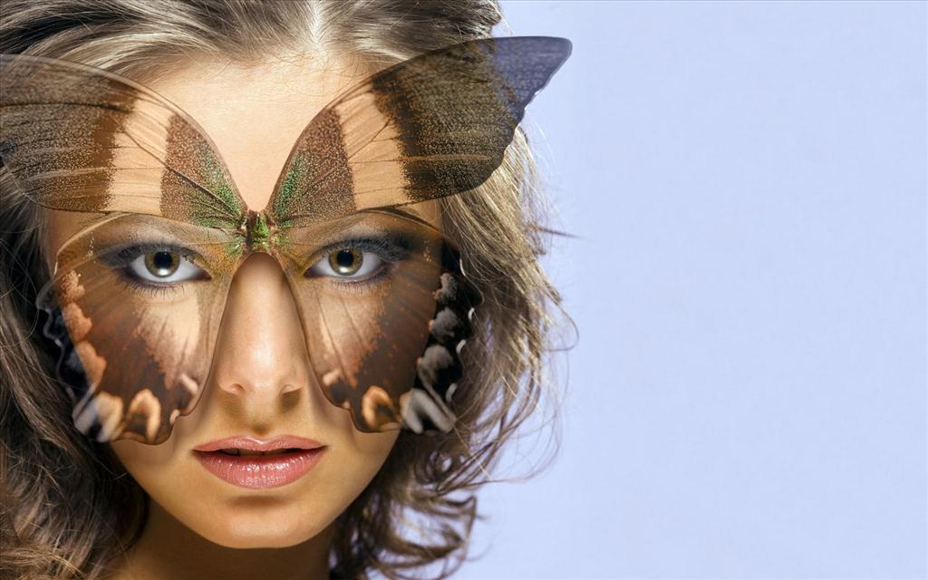 Fond d 39 cran femme papillon for Fond ecran portrait