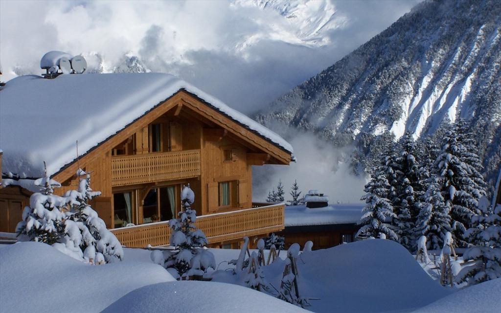 Fond d 39 cran chalet sous la neige for Log cabin montagne blu