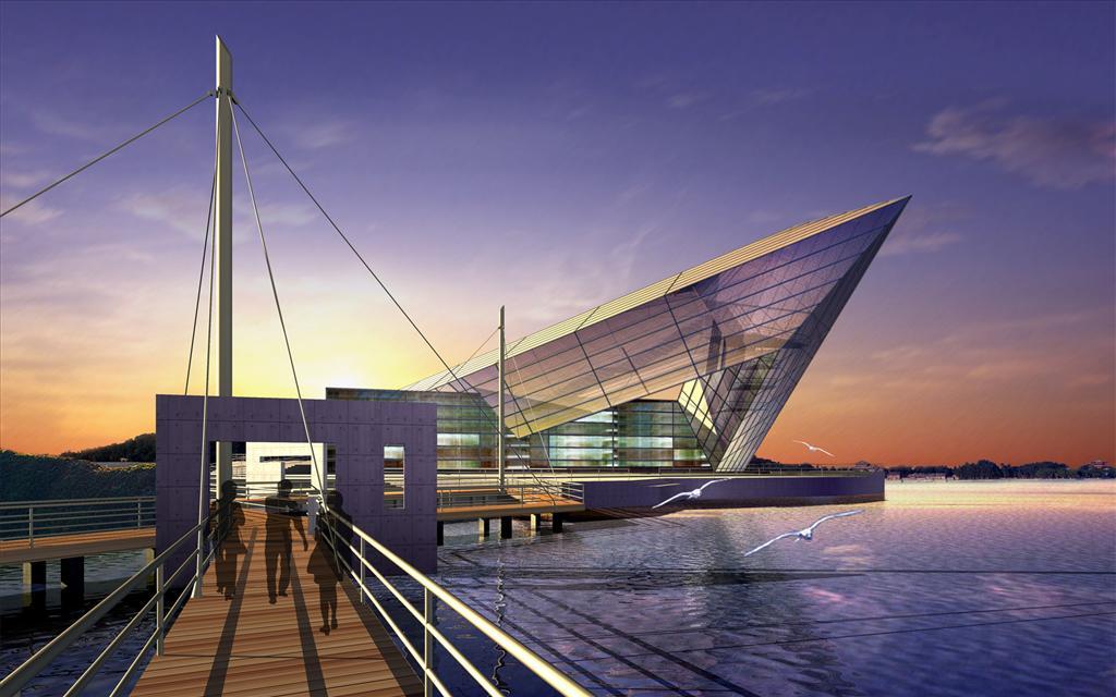 Fond d 39 cran architecture futuriste for Architecture futuriste