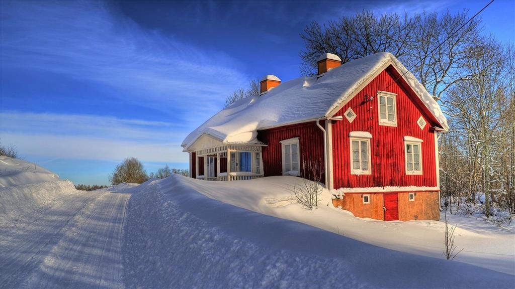 Fond d 39 cran maison sous la neige - Source sous la maison ...